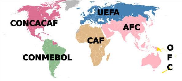 Kontinentale Fussballverbände auf der Weltkarte