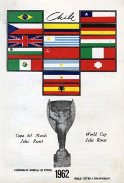 Plakat mit allen Teams der WM Endrunde 1962 in Chile