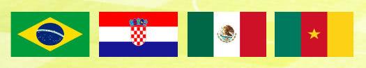 Gruppe A WM 2014 mit Brasilien, Kroatien, Mexiko und Kamerun