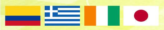 Gruppe C der Fussball Weltmeisterschaft in Brasilien mit Kolumbien, Griechenland, Elfenbeinküste und Japan