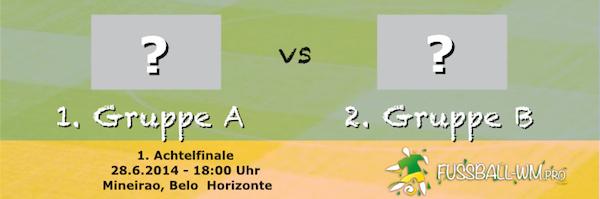 Im ersten Achtelfinale der Fußball WM 2014 trifft der erste aus Gruppe A auf den Zweiten aus Gruppe B