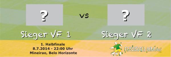 Im WM 2014 Halbfinale 1 treffen die Sieger aus Viertelfinale 1 und 2 aufeinander