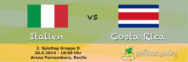 Italien ist im WM 2014 Gruppenspiel gegen Costa Rica klarer Favorit
