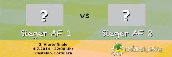 2. Viertelfinale der WM 2014 zwischen Sieger AF 1 und AF 2