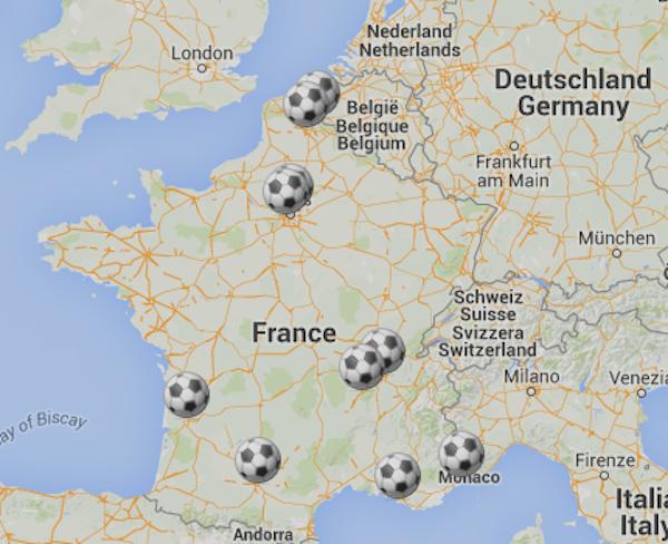 Karte EM Stadien 2016