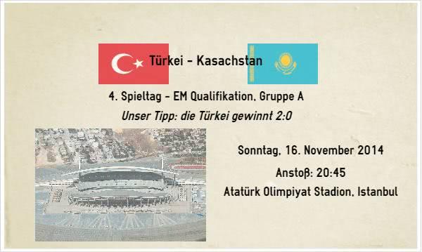 Wetten Tipp zu Türkei Kasachstan am 16.11.14
