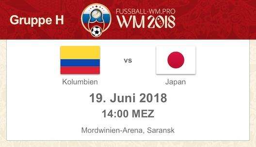Kolumbien gegen Japan WM 2018 Vorschau