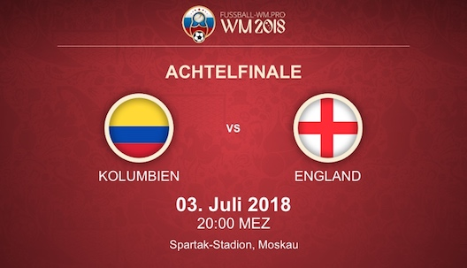 WM-Achtelfinale Kolumbien vs. England Vorschau + Quoten