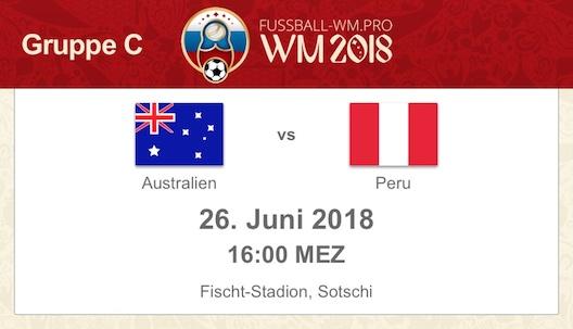 WM 2018 Vorschau Australien gegen Peru