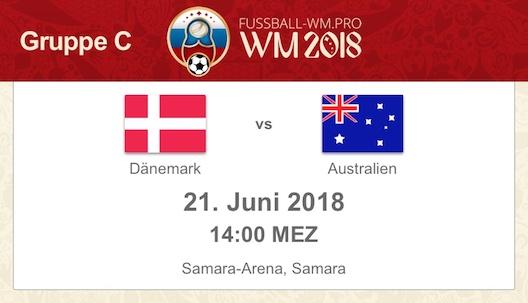 Dänemark vs. Australien bei der WM 2018