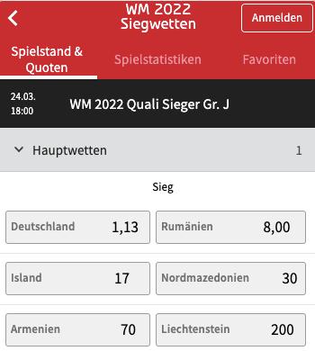 WM Quali 2022 Quoten von Deutschland