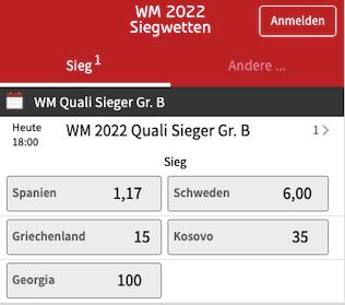 Wetten und Quoten für Spanien in der WM Qualifikation 2022 Gruppe B bei Tipico