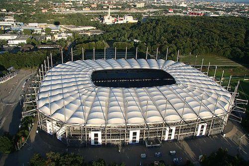 Das Volksparkstadion in Hamburg als EURO 2024 Spielort in Deutschland