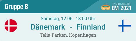 Spielvorschau und Prognose für Dänemark - Finnland in EM 2021 Gruppe B am 12. Juni