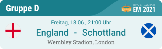 Spiel-Tipp mit Prognose für England - Schottland am 18.6. in London & EM 2021 Gruppe D