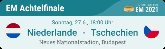Tipp & Prognose für Niederlande - Tschechien am 27. Juni im EURO 2021 Achtelfinale in Budapest