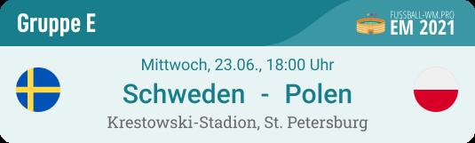 Spielvorschau mit Prognose und Wett-Tipp für Schweden - Polen am 23.6. bei der EM 2021