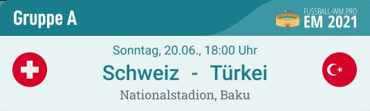 Spielvorschau und Prognose für Schweiz - Türkei am 20. Juni 2021 in EURO 2020 Gruppe A