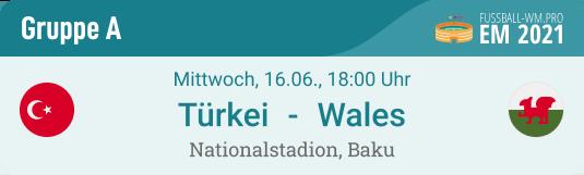 Spielvorschau mit Tipp für Türkei - Wales am 16.6. bei der EM 2021 inkl. Prognose