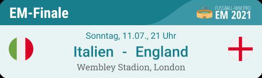 Tipp zum EM 2021 Finale Italien - England